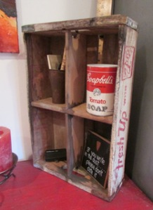 "Fantastic vintage ""Fresh 7Up"" crate...Love the Campbell's Soap container and yes...""If you write in the Dust, please don't date it"""