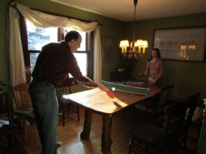 Tim and Gabi playing Table Tennis on Christmas Day.  (Her new present)