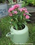 Painted Vintage Metal Tea Kettle with flowers